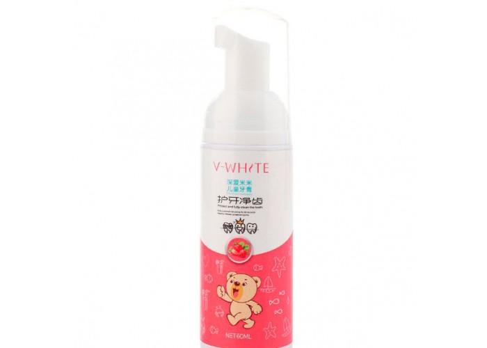 Пенка-мусс для чистки зубов Beaver V-White Fresh для детской автоматической зубной щетки Beaver V-White Kids Клубника 60 мл