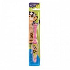 Зубная щетка Brush-Baby FlossBrush от 3 до 6 лет розовая