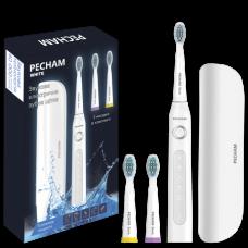 Электрическая звуковая зубная щетка Pecham White Travel 3 насадки