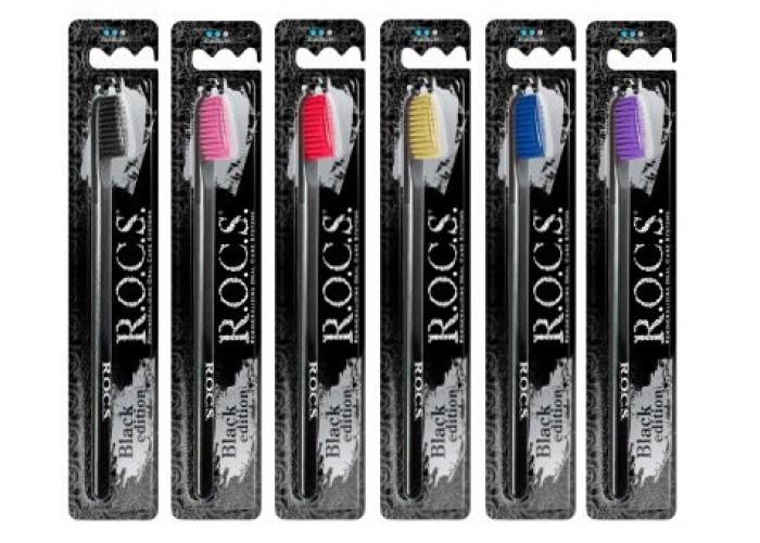 Зубная щетка ROCS Black Edition средняя жесткость
