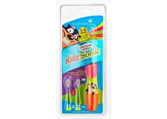 Звуковая зубная щетка Brush-Baby KidzSonic от 3 до 6 лет красная