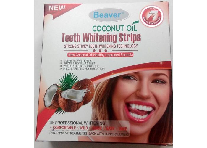 Полоски для отбеливания зубов с кокосовым маслом Beaver Teeth Whitening Coconut Oil Strips Red
