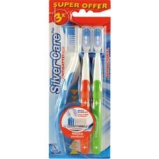Набор зубных щеток Silver Care Plus Дельфин средняя жесткость 3 шт