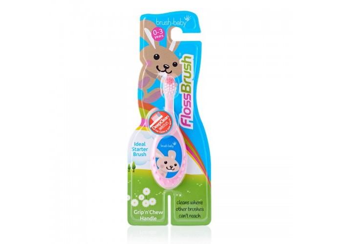 Детская зубная щетка Brush Baby Flossbrush до 3 лет розовая