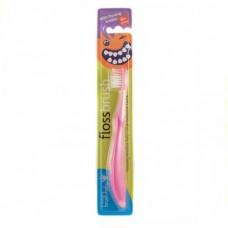 Зубная щетка Brush-Baby FlossBrush от 6 лет розовая