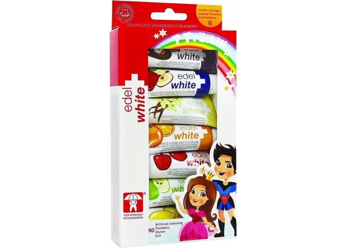 Детская зубная паста Edel White 7 фруктов от 0 до 6 лет 7 шт по 9,3 мл